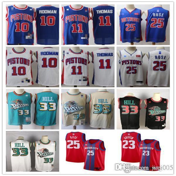 ErkeklerinDetroitPistonlar33 GrantTepesi 11 IsiahThomas 10 DennisRodman 25 DerrickGül Basketbol Formalar