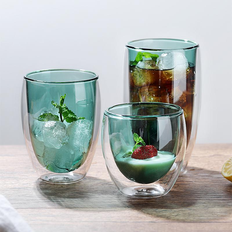Caneca de cerveja copos de vidro resistente ao calor Garrafa 2PCS água do copo de café de parede dupla de vidro colorido do copo de cerveja artesanal chá Whisky