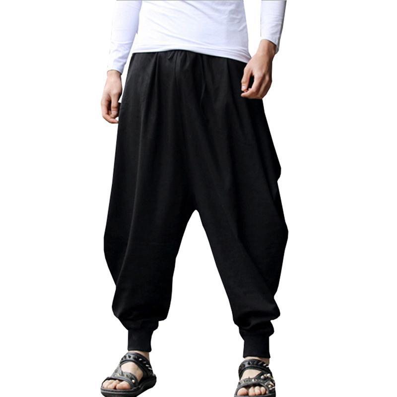 Giapponese casuale Cotone Lino pantalone maschile Pantaloni harem uomini della caviglia fasciato Jogger Pant Cinese tradizionale Clothe fz6516