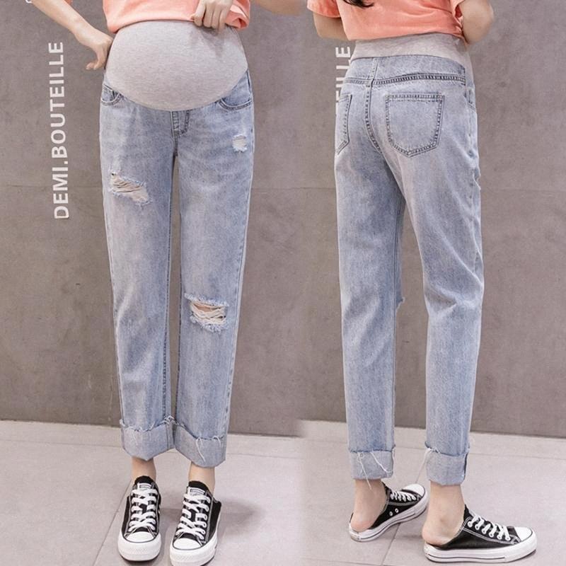 Moda delik kot dokuz puan yaşlı pantolon hamile kadınlar düz pantolon geniş bacaklar hamile kadınlar nQex # gevşek