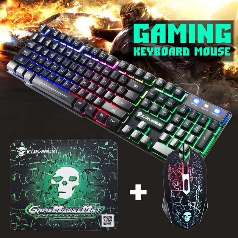 أضاءت الألعاب لوحة المفاتيح ماوس السلكية USB لوحات المفاتيح والفأرة العودة لوحة المفاتيح لأجهزة الكمبيوتر المحمول سطح المكتب نقاط