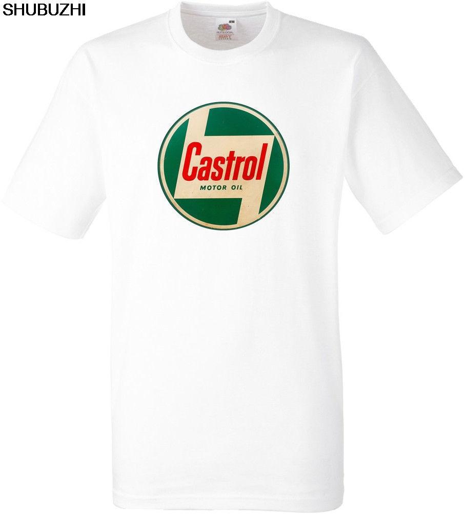 CASTROL OIL cotton WHITE SHORT SLEEVED cotton tshirt for men shubuzhi brand t-shirt free shipping euro size