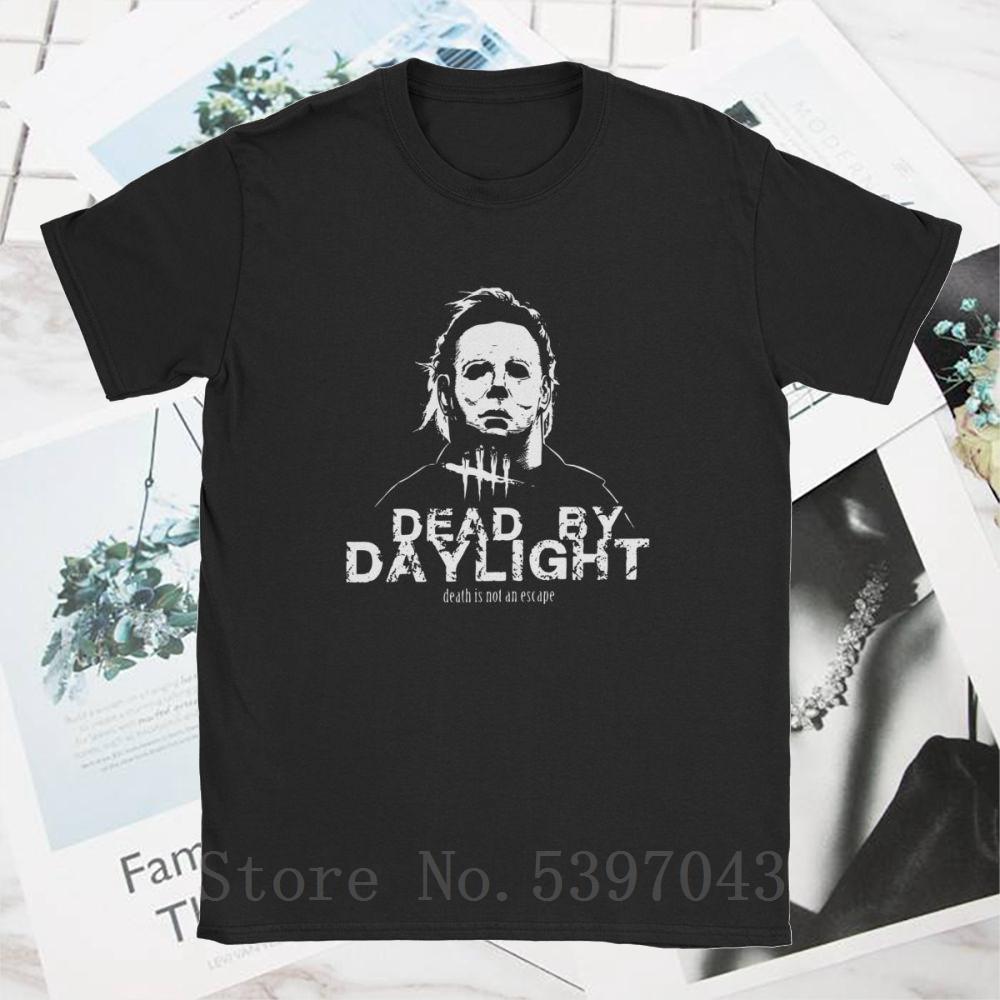 Erkekler Ölü By Daylight Michael Myers T Gömlek Korku DBD Trapper Killers Oyunu% 100 Pamuk Baskılı Tee Tişörtler Giyim