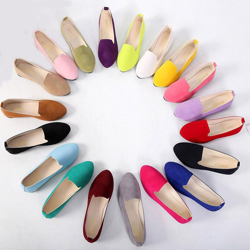 Donne Appartamenti vendita calda colorata pelle scamosciata Donne Mocassini balletto della punta aguzza Flats donna Scarpe Mocassini più il formato 43 Zapatos De Mujer