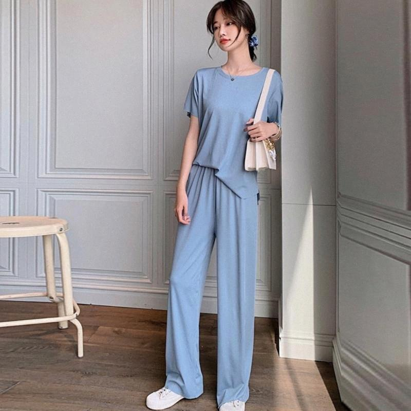 Bodycon Two Piece Set Summer Thin ice Silk loose Wide leg pants two-piece Casual pajamas fashion Suit Short sleeve + long pants a8Pd#