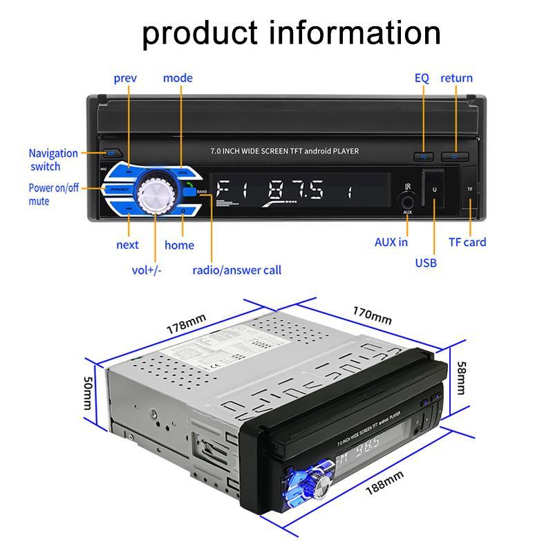 سيارة راديو GPS بلوتوث 4.0 7INCH تركيب APP بالسعة الشاشات التي تعمل باللمس قابلة للطي عكس صورة أندرويد 8.1