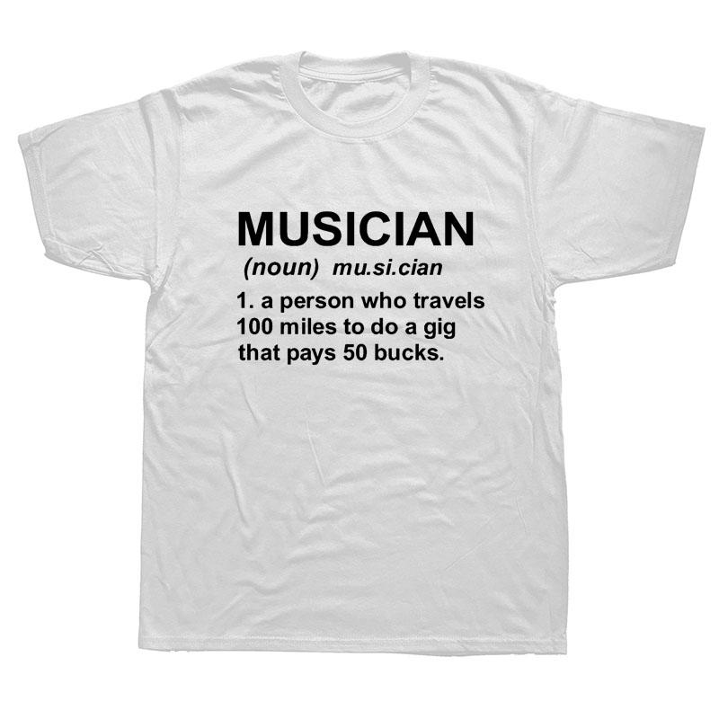 Müzisyen Tanımı Bant Mizah Parti Komik Tişörtlü Erkekler Kısa Kollu Pamuk Mans Tişört Üst