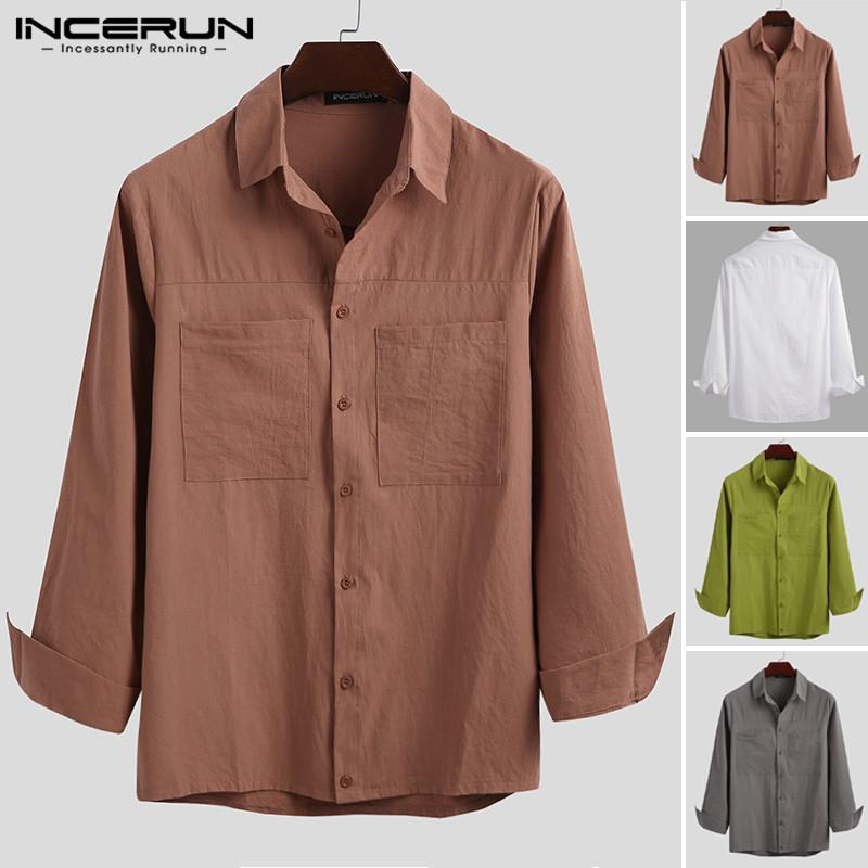 Mens solido di colore Tasche Camisa Moda a maniche lunghe risvolto camice bottoni vintage in cotone Blusas allentati Chemise Streetwear INCERUN