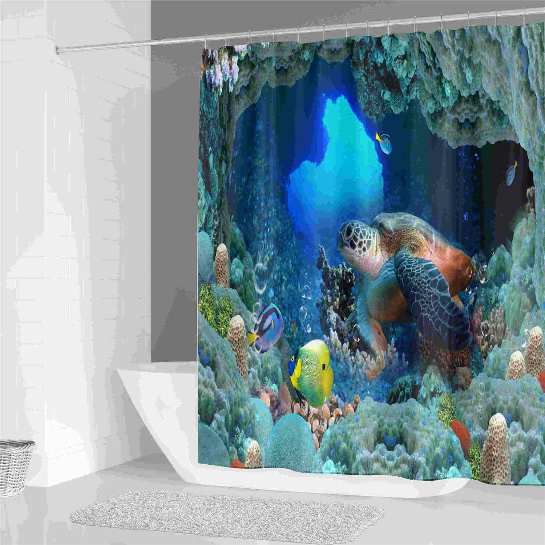 Синий подводный мир душ занавес Полиэфирная ткань печати занавес ванной комнаты Водонепроницаемый дома продукта