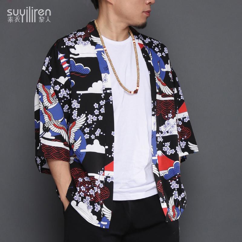 Neue japanische Robe Kimono Cardigan Männer Sommer Jacke chinesischen Stil Hanfu Tang Anzug