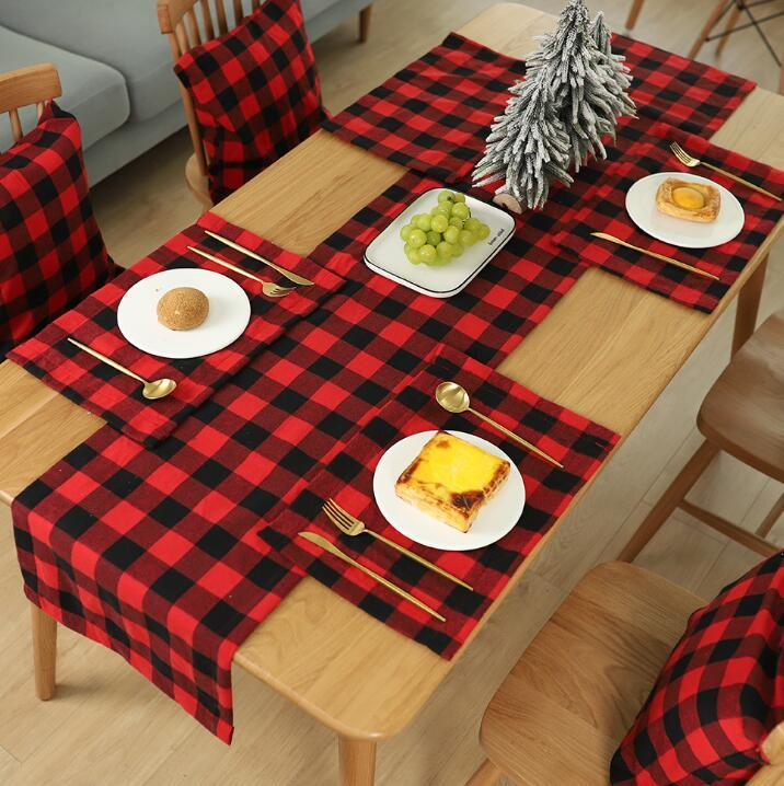 Plaid Placemat Christmas Decoration Red Black Plaid Table Cutlery 44*29cm Plate Place Mat Tablecloth Xmas Home Party Decorations GGA3562
