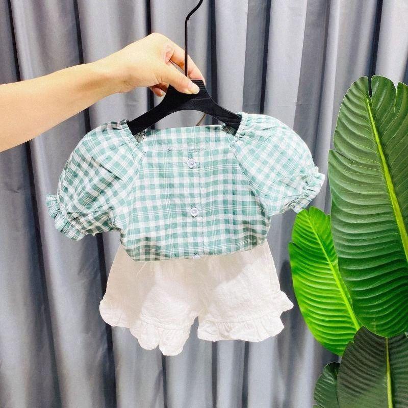 Children's Shirt Girl's Shirt Summer Baby's Short Sleeve and Plaid Small Children's Princess Suit Summer Dress 3LOy#