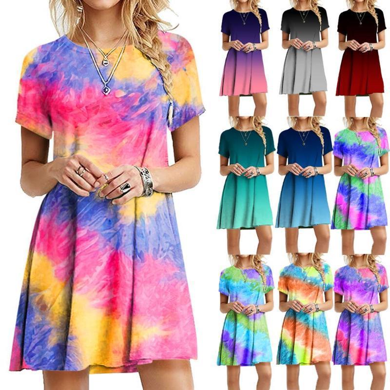 Tamaño del nuevo verano de Tie-dye de impresión ocasionales de la playa del mini vestido del arco iris del gradiente de colores O cuello manga corta floja del vestido del más 5XL vestidos