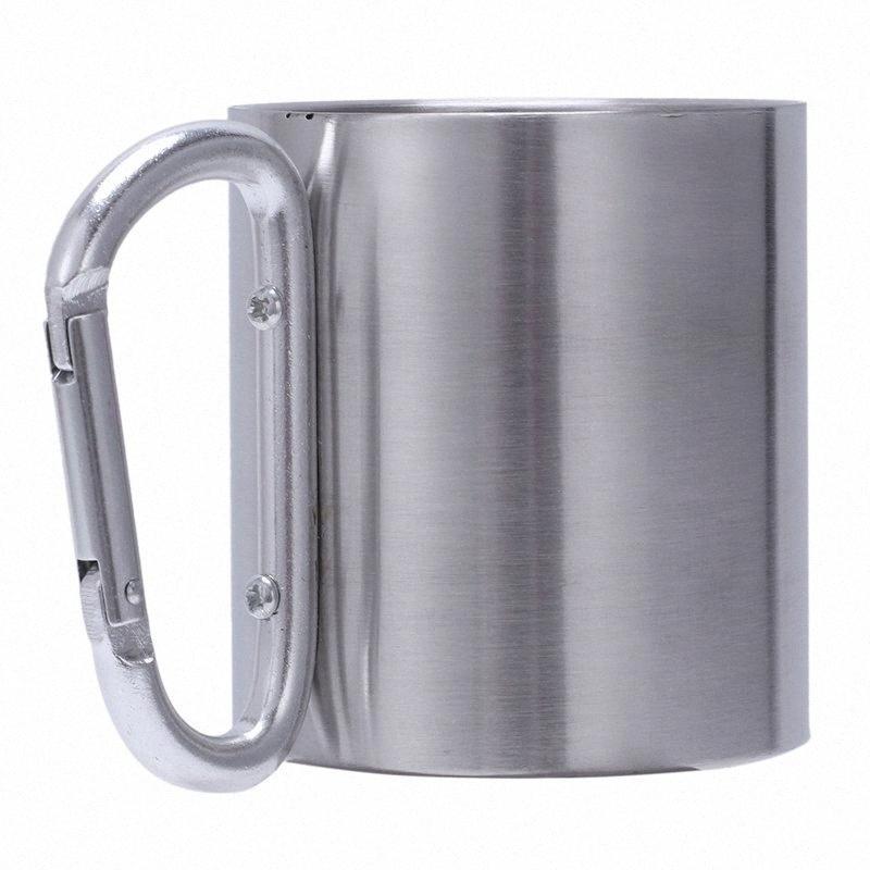 Paslanmaz ve Çelik Kahve Açık Piknik Karabina 220ml Paslanmaz Yürüyüş ve Kampçılık Kamp Yürüyüş Çelik Cup Coffee Cup Kamp vYLj #