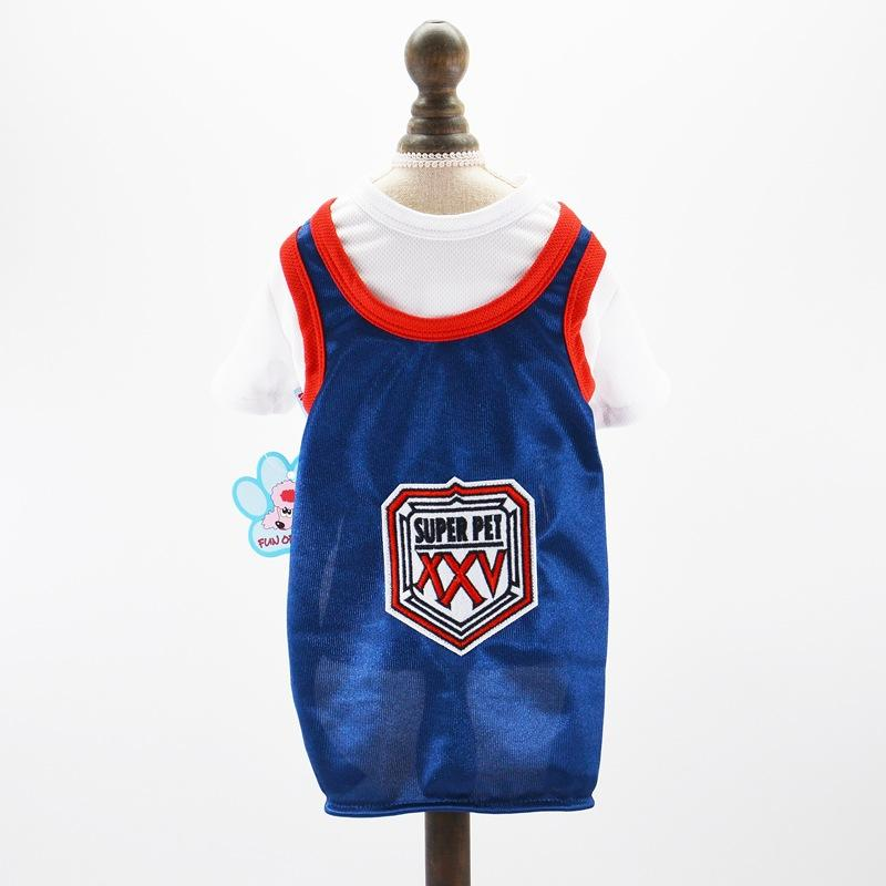 Pet supplies fake two sports vests mesh breathable dog football World Cup clothing