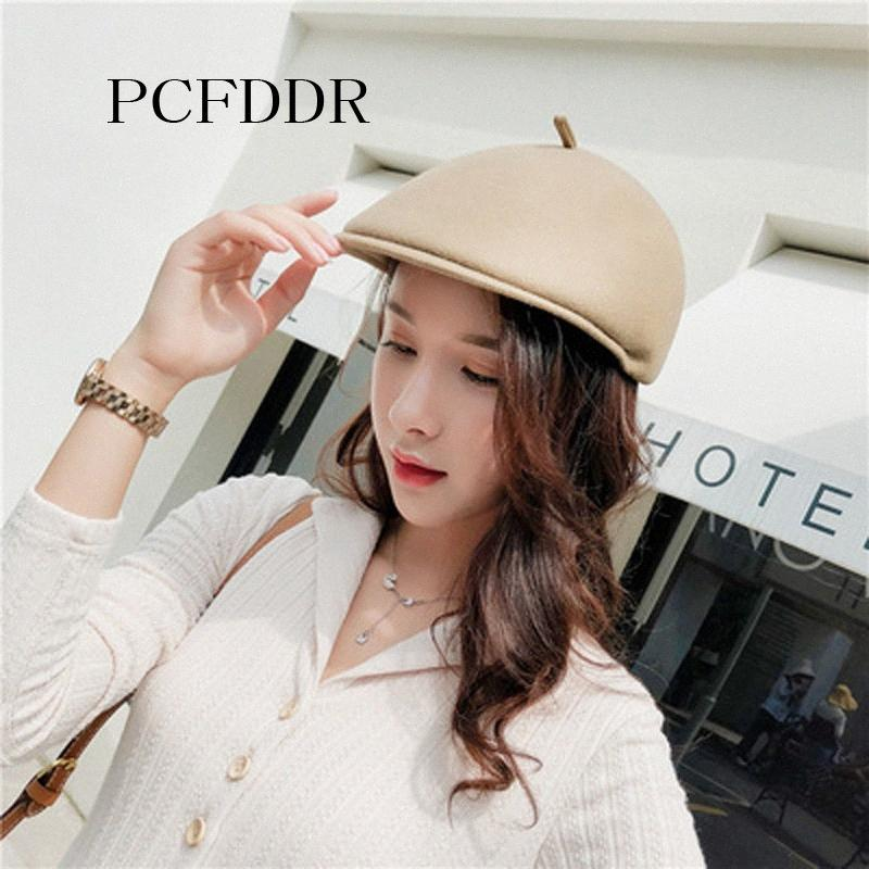 PCFDDR las lanas de la boina del casquillo femenino caer invierno de ocio tapa de la lengua japonesa linda reducción de la edad de pato. Pogf #