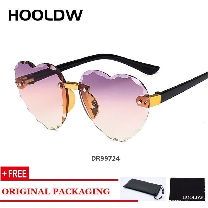HOOLDW 2020 New Rimless Kids Sunglasses Girls LOVE Heart Shape Children Sun Glasses Outdoors Travel Eyewear UV400DR99724