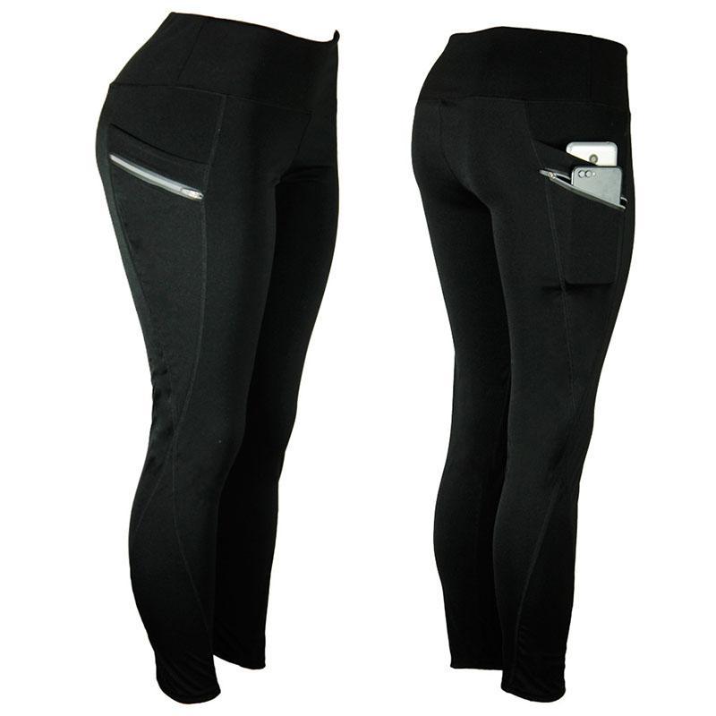 Women Leggings High Waist Sports Yoga Pants Ladies Fitness Running Trousers Pocket Gym Legging Lady Casual Pants Skinny 050715
