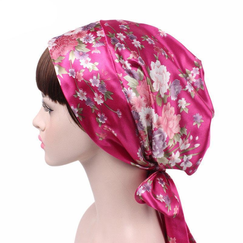 المرأة الجديدة الأزياء زهرة الحرير ليوبارد طباعة BOWKNOT الحجاب العمامة قبعة لينة بونيه الشعر التفاف فتاة النوم قبعات الرأس