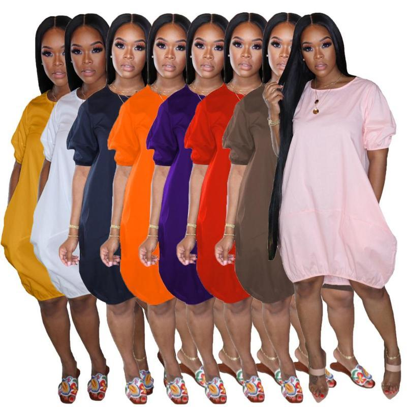Summer Women Lantern Dresss 8 Colors In Stock 2020 Fashion Short Sleeves Round Neck Loose Short Casual Dress Knee Lengh New