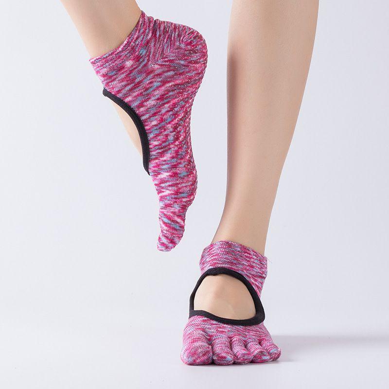 6 Renkler Kadınlar Backless Kaymaz Pamuk Masaj Spor Yoga Çorap Nefes Pilates Fitness Egzersiz Spor Yoga Çorap