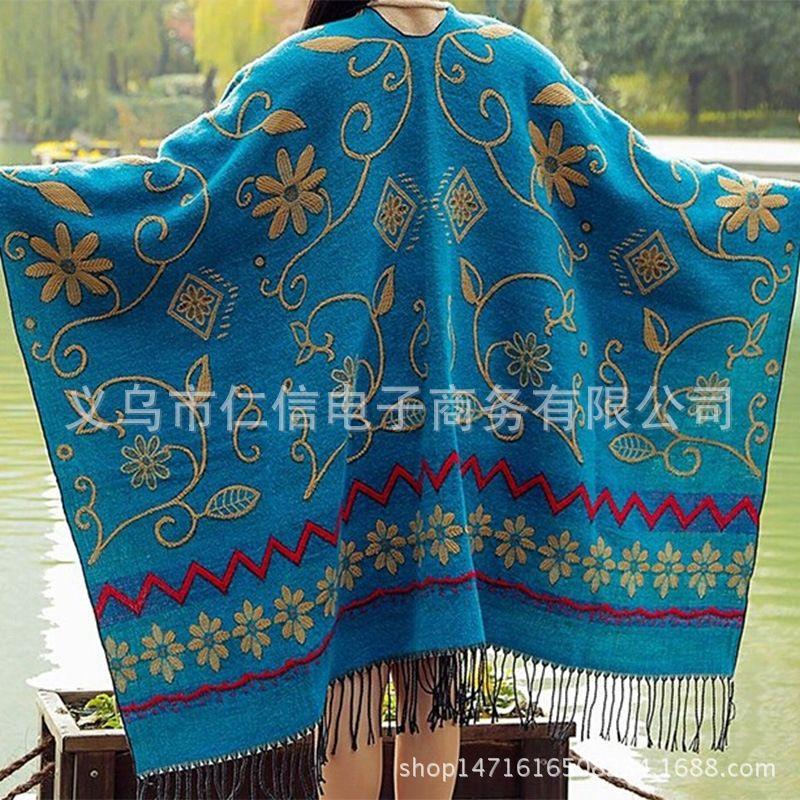 Yunnan Tibet Tourismus ethnischer Stil Split Schal Herbst Schal Schal Ethnischer Schal und Winter lang verdickten Troddelschal Sommer Büro