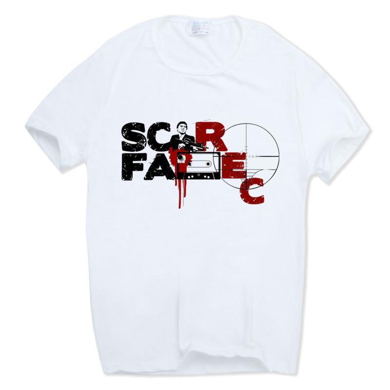 Stampa Bianca Tony Montana maglietta casual famoso film Scarface Moda T-shirt O-Collo maniche corte estivo Top Tee Plus Size