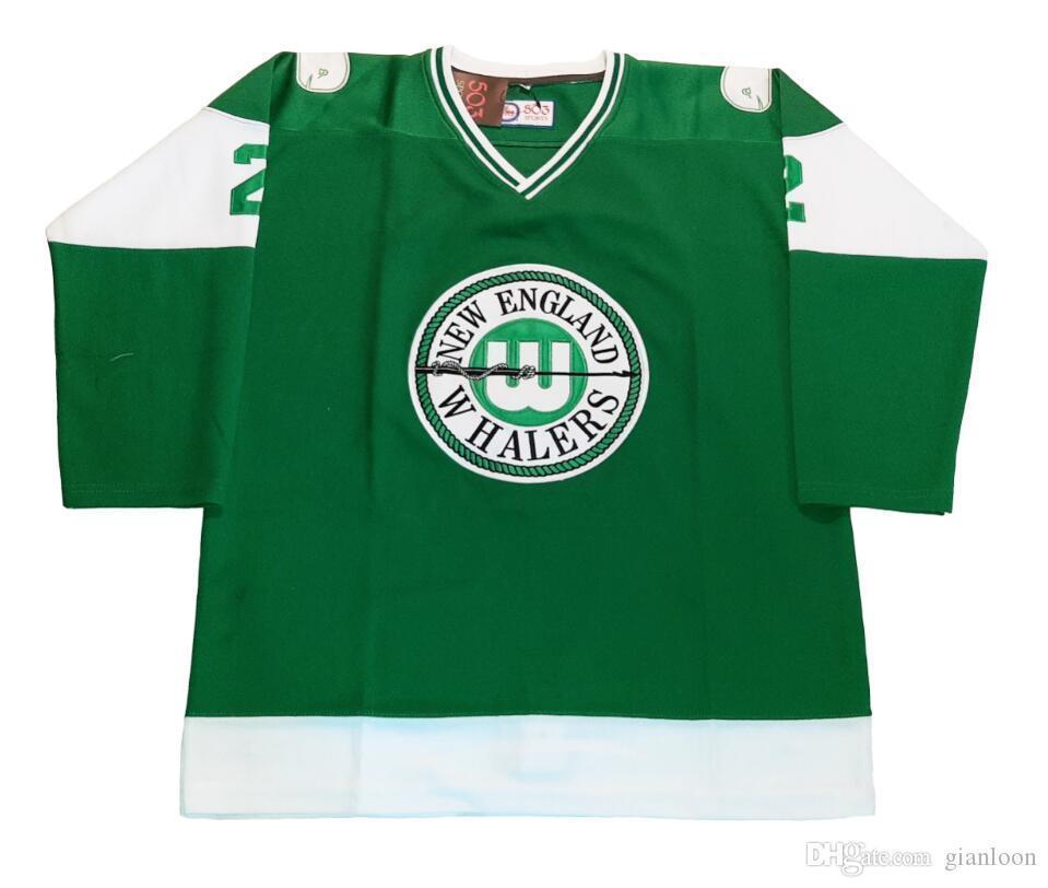 Benutzerdefinierte Hockey Jersey Größe XXS S-XXXL 4XL XXXXL 5XL 6XL New England Whaler Individuelle Hockey Jersey Wha Hartford Wallers 1972-1973