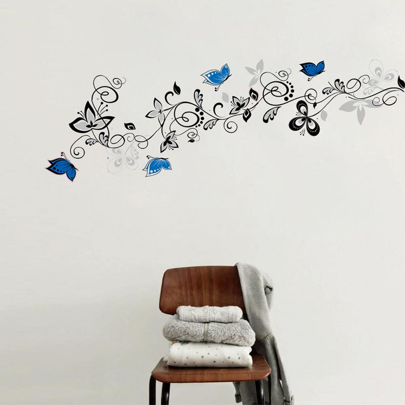Creativo flor de la vid de las mariposas etiqueta de la pared para la decoración del hogar a prueba de agua de fondo decoración del arte DIY del papel pintado pegatinas Vinilos