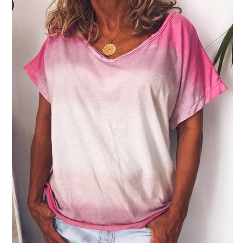 Kadın T-shirt Tie-Boya Gökkuşağı Kadın Tshirt Estetik Degrade Baskı Gömlek 2021 Şükran Günü Kawaii Vintage Baskı Pembe Tops