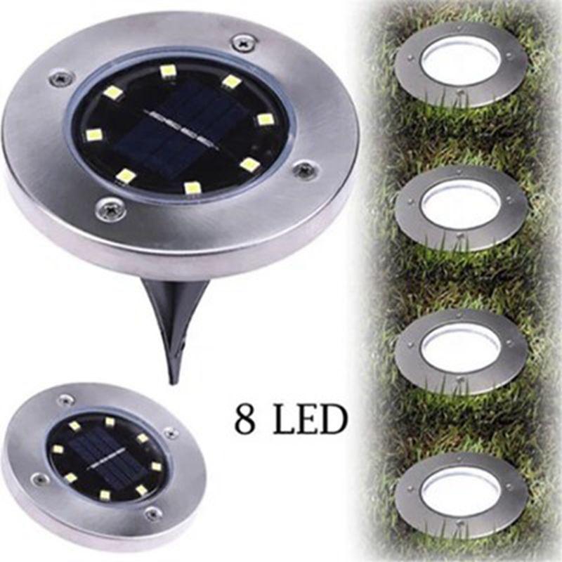 Solar Power Buried Lamp 8 LED Underground Light Ground Outdoor Light Path Way Garden Lawn Courtyard Landscape Decoration Lamp IIA269
