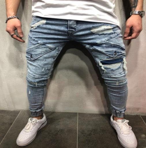 Mens Skinny Jeans Casual Slim Biker Jeans Jeans Denim Ginocchio Foro Hiphop Strappato Pantaloni lavati Fashion K69Q