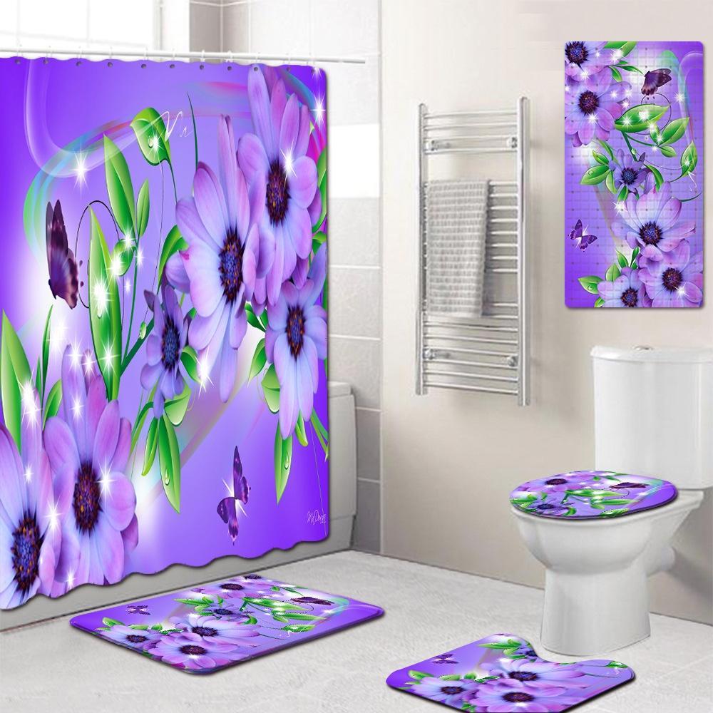 Fleur rideau de douche étage Tapis rideau de douche étage tapis de cuisine anti-dérapant tapis de pied de recouvrement WC cinq pièces taille de tapis