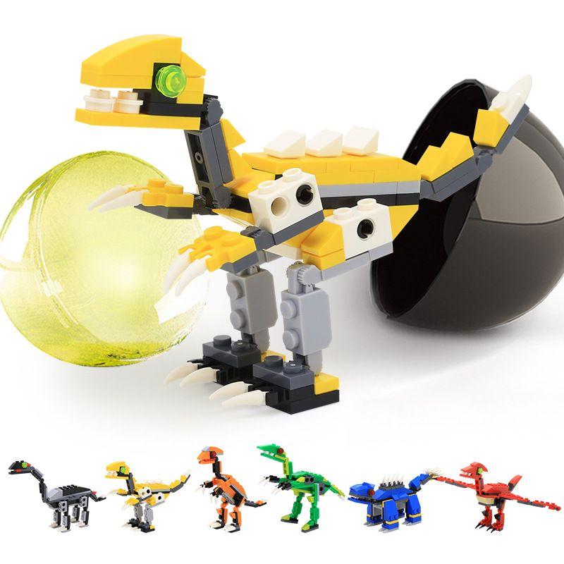 12шт строительные блоки капсульных динозавр серия игрушечных мини животное T-Rex DIY образования детей игрушки подарок забавное яйцо действие 06