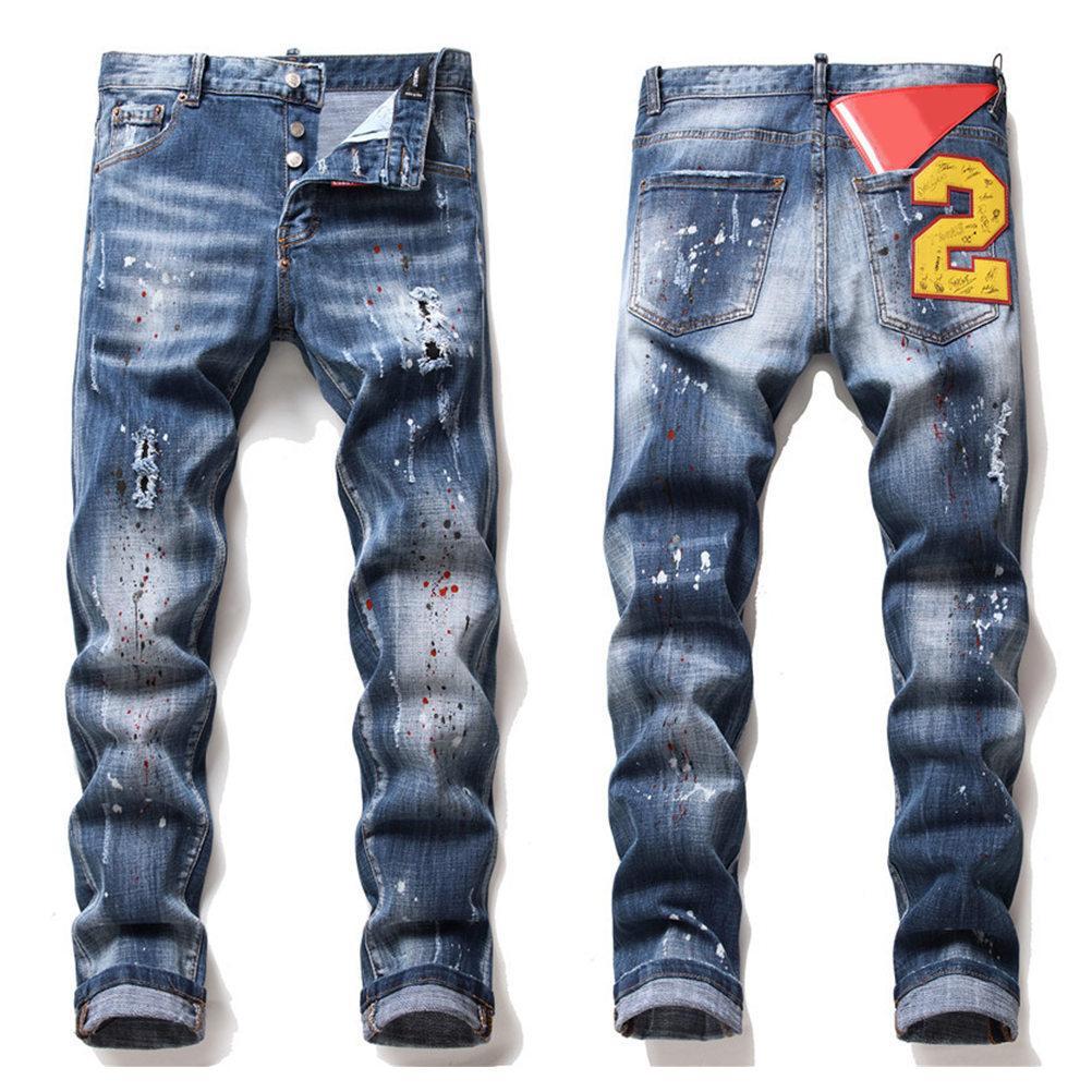 dsquared2 jeans dsq d2 Erkek Rips Stretch Siyah Kot Moda Slim Fit Yıkanmış Motosiklet Denim Pantolon panelli Kalça HOP Pantolon B5
