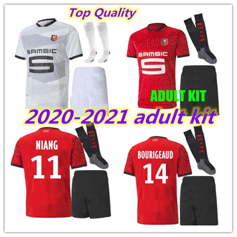 20 21 Взрослый Kit Kit Rennes Soccer Technsys 2020 2021 Raphinha Niang Terrier J.Martin Stade Rennais FC Bourigeaud Home Away Kit Футбольные рубашки