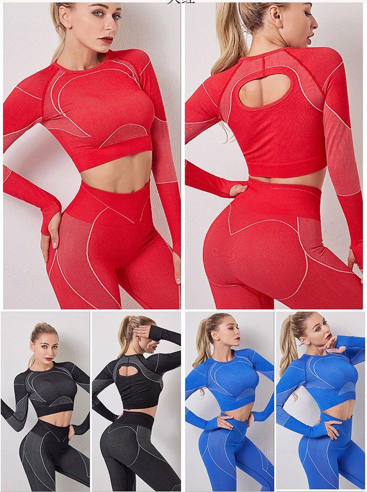 Outono Inverno Moda Womens designer de Seamless Yoga Sports Dois set parte superior manga longa Leggings Gymshark ginásio terninho aptidão Sportwear