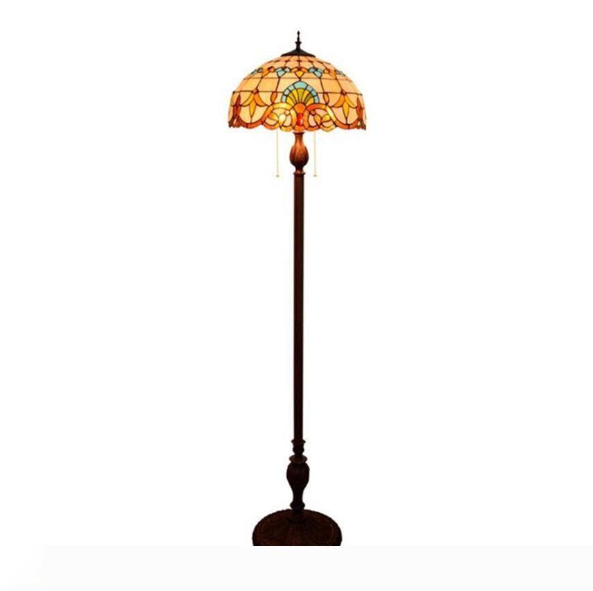 Lampada da terra Tiffany pavimento Barocco Mediterraneo Stained Glass vita la luce della stanza lampade regalo sala da pranzo camera da letto al piano lampada arte