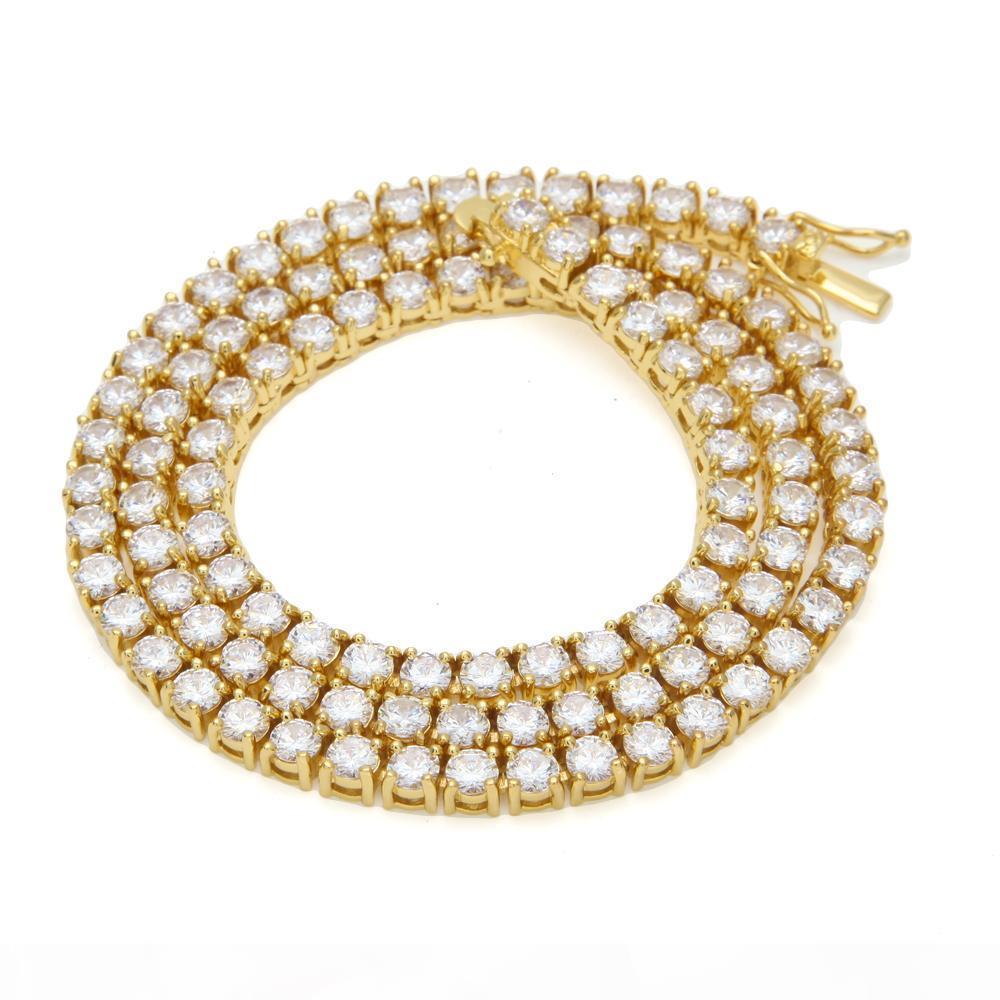 Hip Hop Золото Серебро 5мм Кубический циркон теннис цепи ожерелье 1 Ряд Micro Pave CZ 24inch Медь ювелирные изделия перевозка груза падения