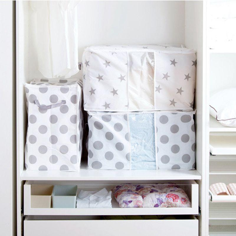 Foldable Clothes Storage Bag Quilt Pillow Organizer Wardrobe Closet Bedding Organizer Clothing Sorting Bags Quilt Holder Pouch