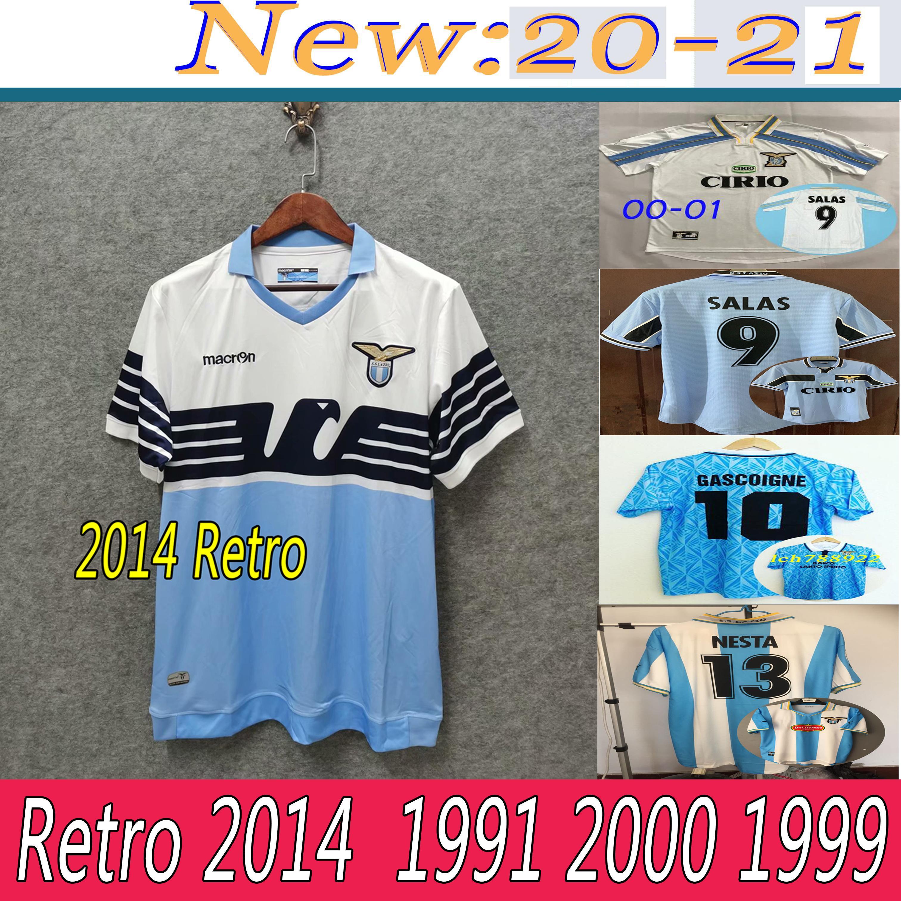 1998 00 01 01 Lazio Europee Home Retro Soccer Jersey 1999 Salas Mihajlovic Veron Stankovic Mancini Nestved Nedved Inzaghi خمر كرة القدم قميص