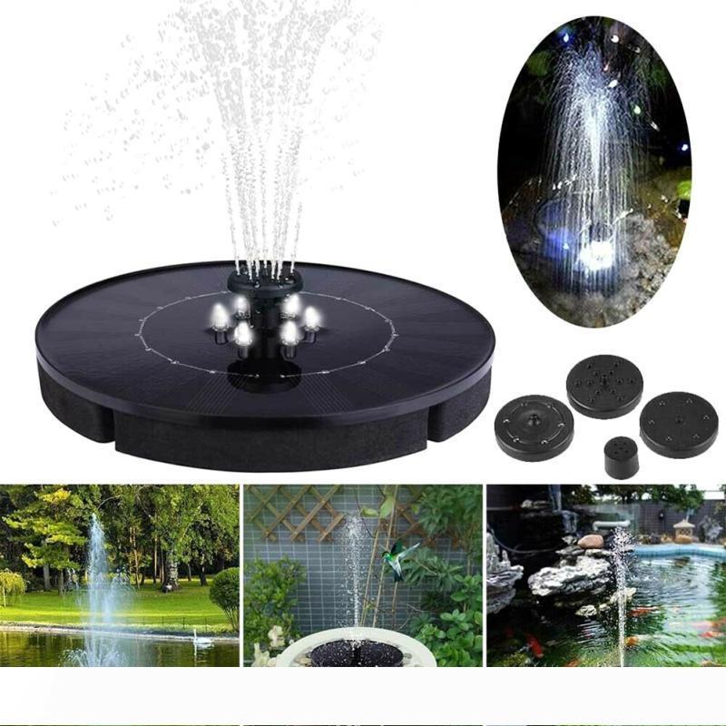 Solarbrunnen führte Solarwasserbrunnen mit LED-Leuchten für den Außen Landschaft Gartendeko Floating Pool Brunnen Solarpumpe