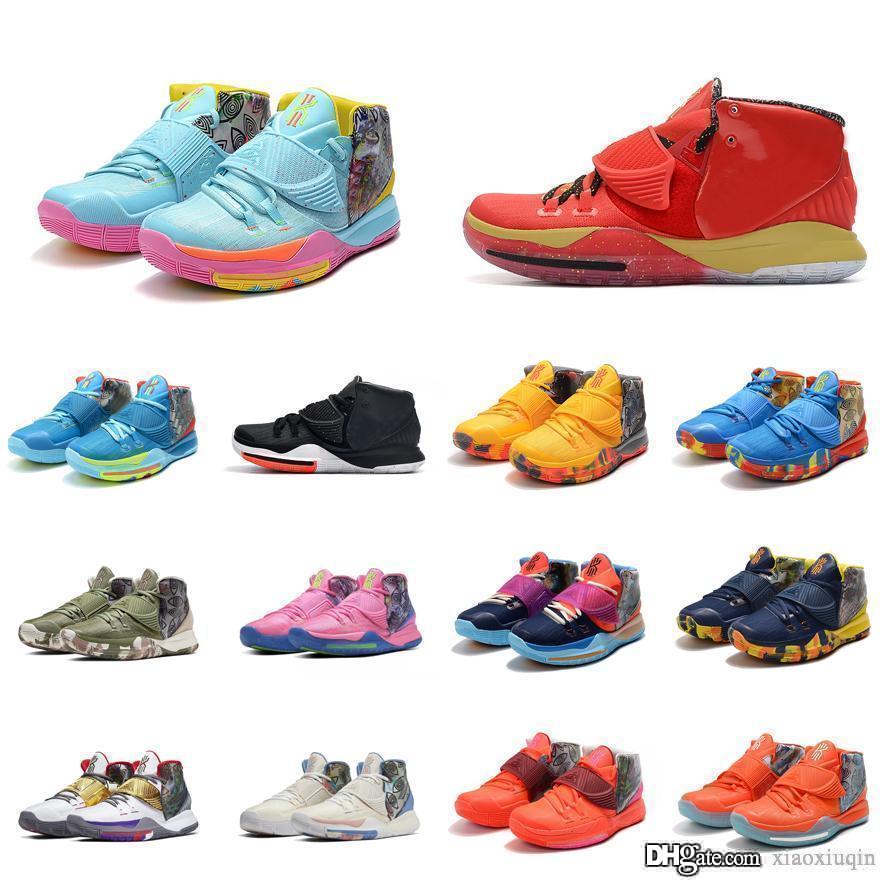 Les nouvelles femmes Kyrie 6 chaussures de basket-ball à vendre Miami South Beach bleu rouge d'or enfants Ironman lebron 17 Kyrie sneakers bottes avec 6s irving boîte
