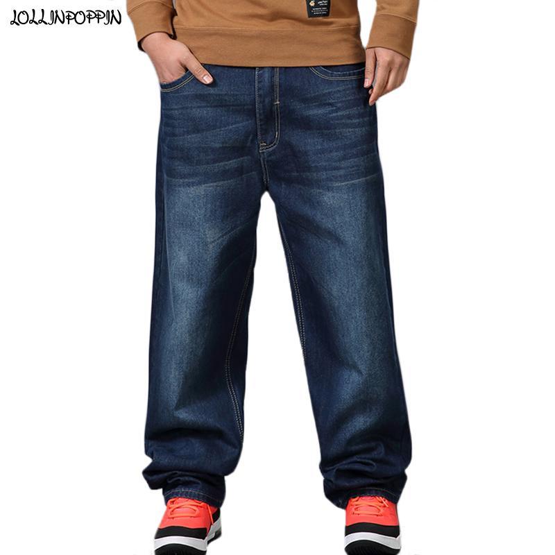 Jeans Hop Denim Baggy Kalça Streetwear Mavi Geniş Pantolon Tasarım Ağartılmış Erkek Hiphop Gevşek Adam Bacak Artı Boyutu Erkekler Kaykaycı Kot Seepu