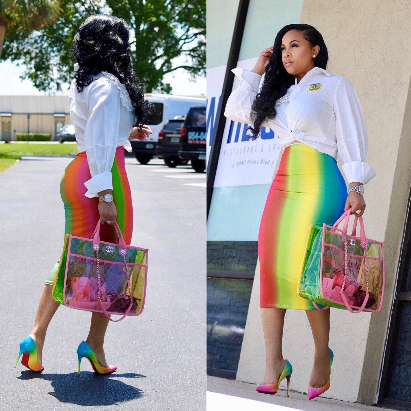 Одежда для женщин Мода Радуга Напечатанная Юбка одноступенчатая OL HIP-Cavy Maxi Длина Взрослые Юбки Платья бесплатно Плюс Размер Без асимметричных