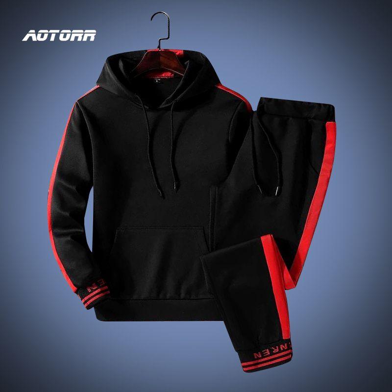 Treino Set Homens Sportswear Suit outono com capuz Inverno Suéter Ginásios Outfit Hoodies Sweatpants Masculino 2 Piece Set CX200723 2020