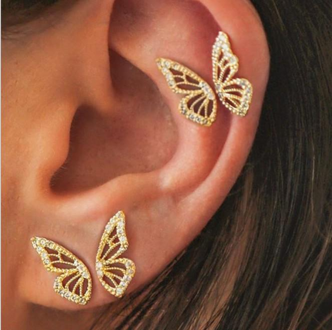 Brincos de orelha de borboleta 4 pçs / par ouro tone brincos orelha piercing jóias presentes para meninas / senhoras