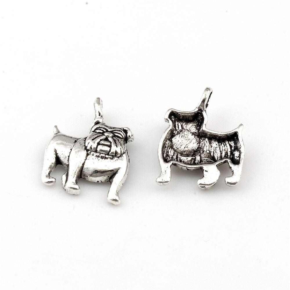 150 unids Aleación de zinc de plata antigua Lindo bulldog encantos colgantes para joyería haciendo pulsera collar hallazgos 13x17mm