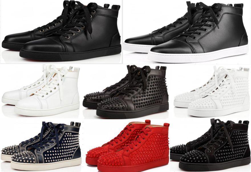 Haute qualité chaussures Red Sneakers Sole clouté Spikes Chaussures pour hommes et femmes Chaussures cristal de mariage Sneakers en cuir avec boîte de grande taille 36--47EU
