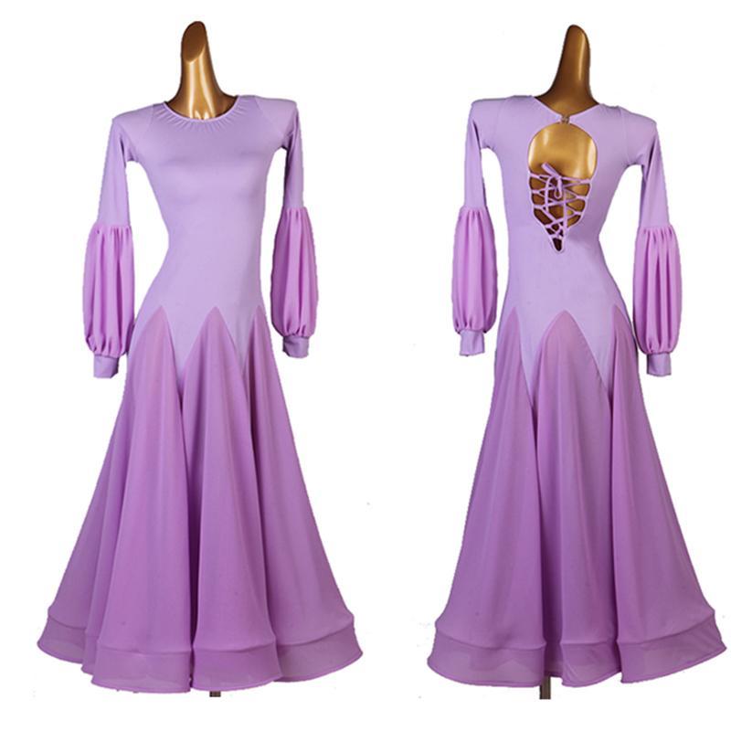 New Ballroom Competition Dance Dress Women Back strap long waltz Tango Modern dance costumes